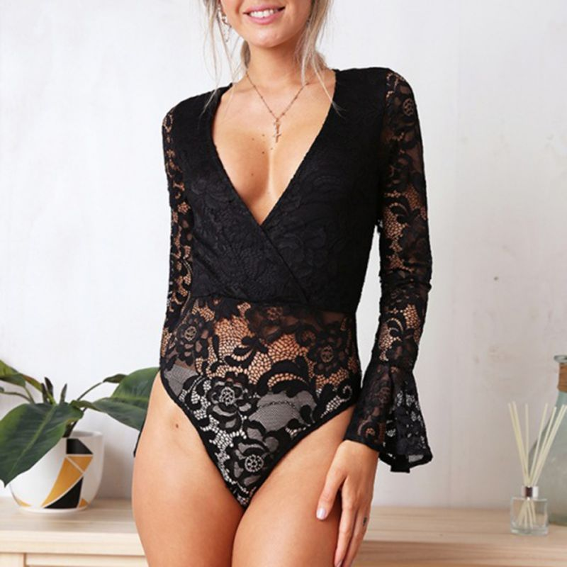 Sexy Lace Bodysuit Long Sleeve Rompers One Piece Body Women Overalls Women   Jumpsuit   Autumn V-Neck femme