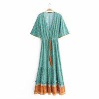 Women dress 2019 Summer Bohemian dresses Comfortable Viscose beach dress Casual bandage Vestidos Manga longa Maxi Vestido