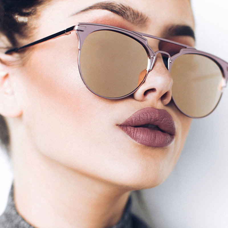 YOOSKE Mirror Rose <font><b>Gold</b></font> <font><b>Sunglasses</b></font> Women Round Luxury Brand Female Sun Glasses Ladies 2018 Fashion Star Style Shades For Women