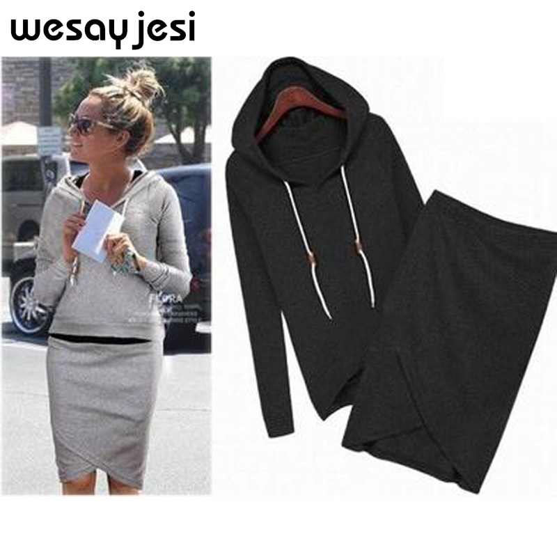 Tracksuit women outfit Two piece set women Casual Long Sleeve Hoodies Sweatshirt & Pencil short Skirt Ladies Elegant casual