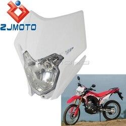 1 x motocykl biały 35W reflektor Dirt reflektor rowerowy Fairing zestaw do hondy CRF150L CRF 150L podwójny Sport przedni reflektor Fairing