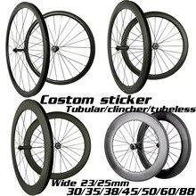 탄소 바퀴 30mm 35mm 38mm 45mm 50mm 55mm 60mm 80mm 88mm 탄소 자전거 바퀴 폭 23/25mm 700C 도로 자전거 탄소 wheelset