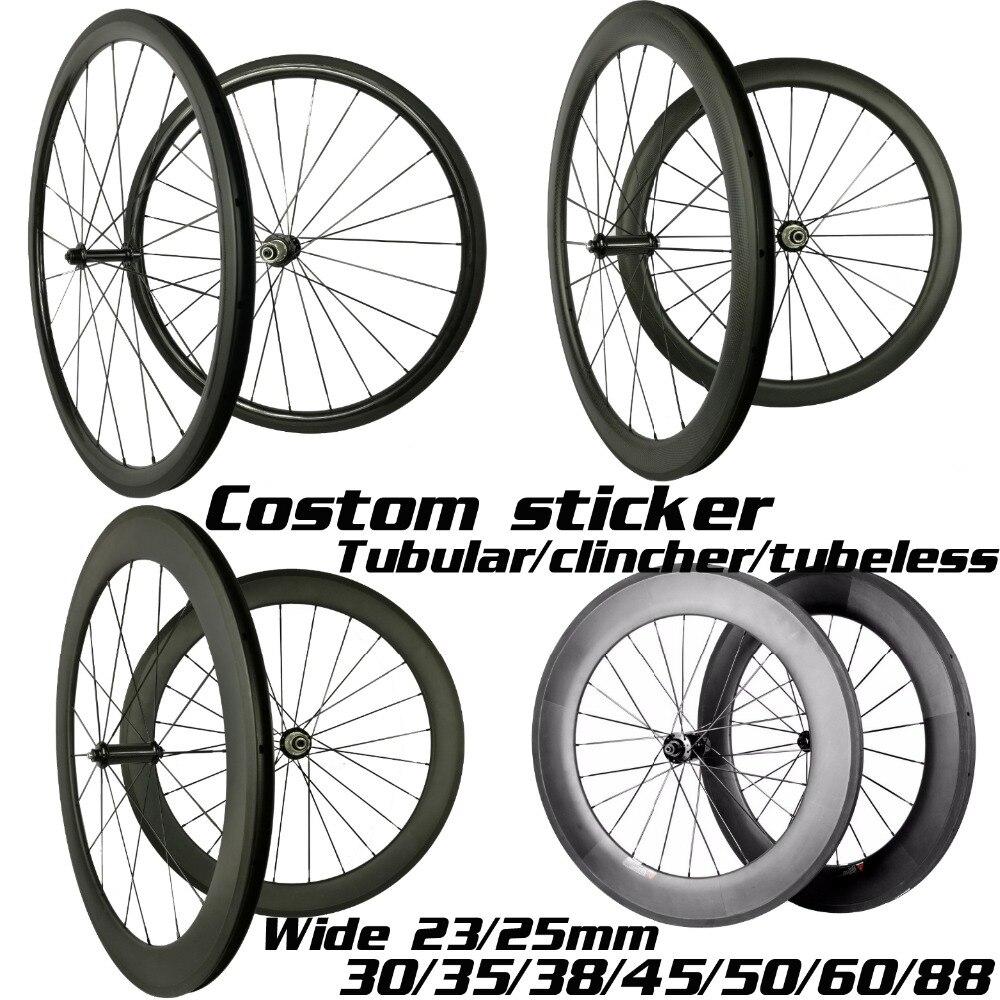 Rodas de carbono 30mm 35mm 38mm 45mm 50mm 55mm 60mm 80mm 88mm rodas de bicicleta de carbono largura 23/25mm 700c rodado de carbono
