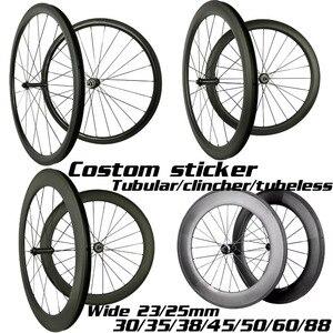 Image 1 - Ruedas de carbono de 30mm, 35mm, 38mm, 45mm, 50mm, 55mm, 60mm, 80mm, 88mm, Ruedas de bicicleta de carbono de ancho, 23/25mm, 700C, juego de ruedas de carbono para bicicleta de carretera