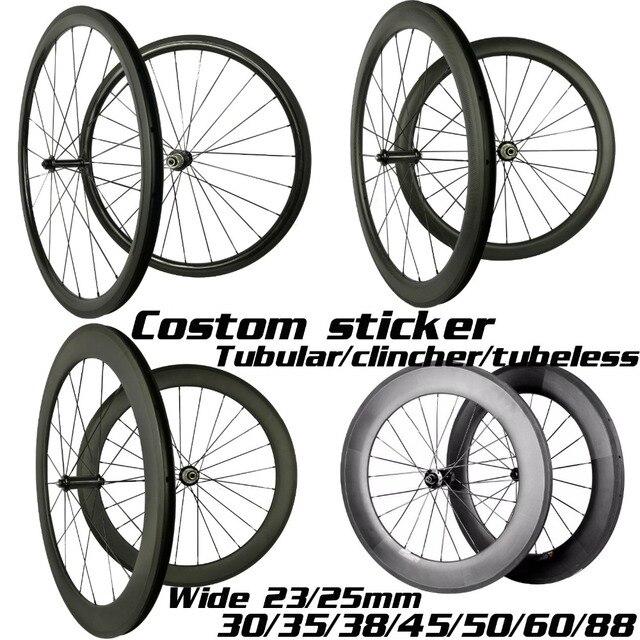 Ruedas de carbono de 30mm, 35mm, 38mm, 45mm, 50mm, 55mm, 60mm, 80mm, 88mm, Ruedas de bicicleta de carbono de ancho, 23/25mm, 700C, juego de ruedas de carbono para bicicleta de carretera