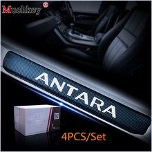 Автомобиль порога Накладка для Opel ANTARA углеродного волокна виниловые наклейки Дизайн Авто аксессуары двери порог пластина наклейки 4 шт.
