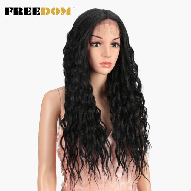 FREEDOM syntetyczna koronka przodu peruki 28 Cal długie naturalne fale Ombre Blond różowy kolor włosów peruki dla czarnych kobiet moda uwalnia statek