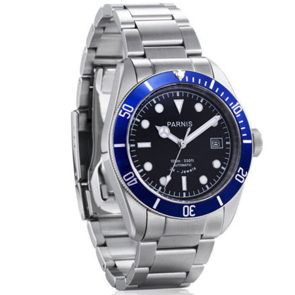 41mm Parnis black dial Sapphire Glass blue ceramic bezel SS band Auto Watch 24 jewels miyota