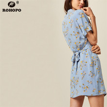 ROHOPO Sky Blue Summer Printed Floral Mini Dress Top Buttons Fly Straight Dress Belted Cute Girl Sleep Pocket Dresses #UK9240 sky blue cut out design random floral print mini dresses