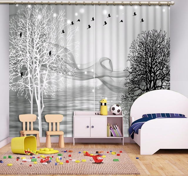 3d Curtain Gray Background Black And White Tree Smoke Window Curtain