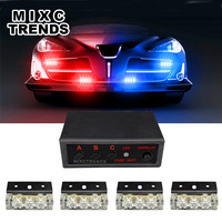 Car Motorcycle Strobe Flash Light DC 12V 4x3 Led Flashing Firemen Lights Car Strobe Flash