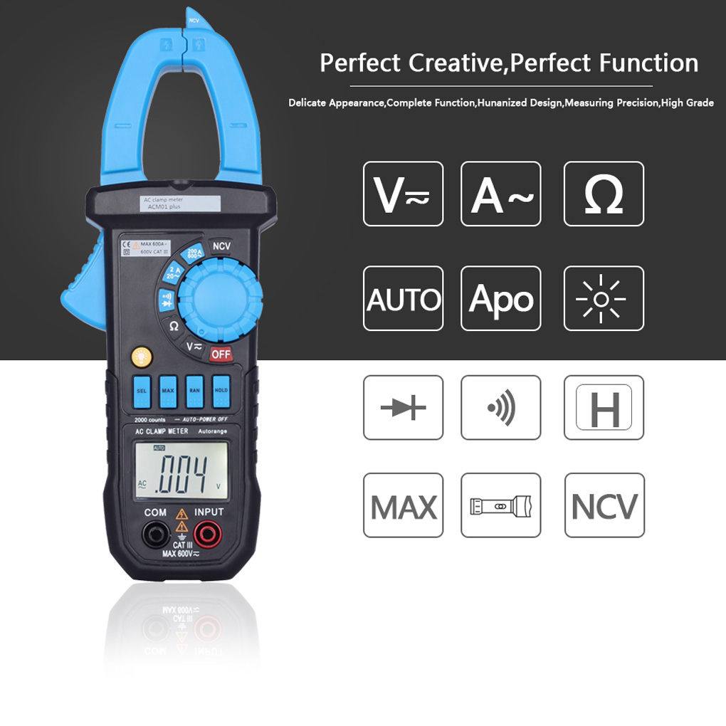 Clamp Multimeter Clamp Ammeters Digital Display AC Current Clamp Meter Digital Display Clamp Multimeter with Pen gifted high new dual digital open small clamp multimeter clamp meter backlit digital display multi function ua2008e