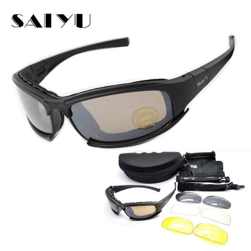 SAIYU X7 Militärschutzbrillen kugelsichere Armee C6 Polarisierte Sonnenbrille 4 Objektiv Jagd Schießen Airsoft Radfahren Motorrad Gläser