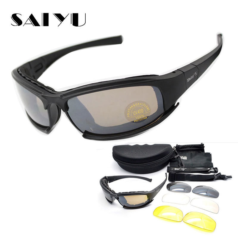 SAIYU X7 Militare Occhiali a prova di Proiettile Esercito C6 Occhiali Da Sole Polarizzati 4 Lens Caccia Tiro Airsoft Moto Ciclismo Occhiali