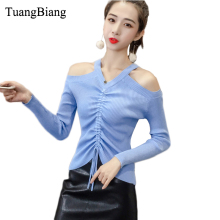 Autumn Off shoulder V Neck Lace Up Pullovers Sweater knit Sexy elasticity Pleated crop tops Winter feminino 2018 Long Sleeve Tee blue cold shoulder lace up chest pleated t shirts
