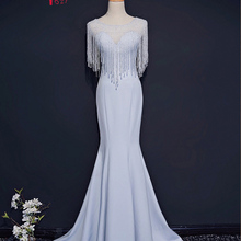 Jark Tozr Custom Made Formal Gowns Long Vestido Longo 2019 Alibaba China  Beading Tassel Satin Mermaid 4c61fc4d9be7