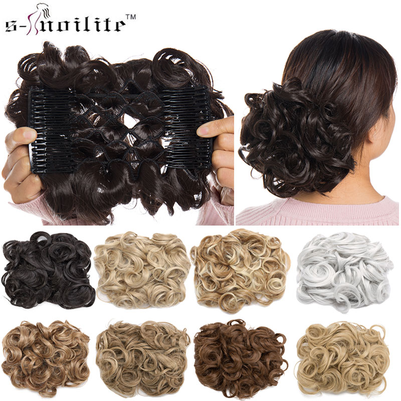 S noilite 1pcs Synthetic Hair Big Bun Chignon Two Plastic Comb Clips in chignon synthetic hairpiece chignon cheveux hair-in Synthetic Chignon from Hair Extensions & Wigs on Aliexpress.com | Alibaba Group