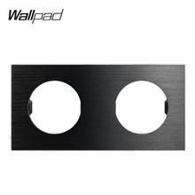 Wallpad L6 DIY Черная Двойная матовая рамка алюминиевый настенный переключатель розетка металлическая пластина комбинация, 172*86 мм