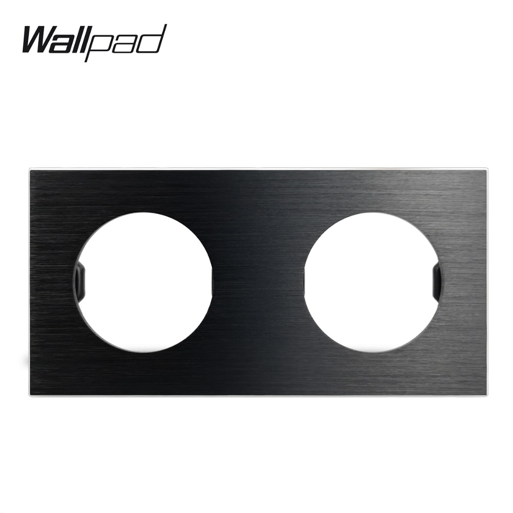 Wallpad L6 DIY Black Double Frame Brushed Aluminum Wall Switch Socket Metal Plate Free Combination, 172*86mm
