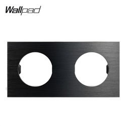 Wallpad L6 DIY Preto Dupla Moldura de Alumínio Escovado Tomada Interruptor de Parede Placa de Metal Combinação Livre, 172*86mm