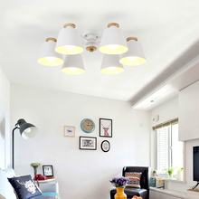 LukLoy Nordic LED Ceiling light Iron Lampshade For Living Room Suspendsion Lighting Fixtures Lamparas Colgantes Wooden Lustre