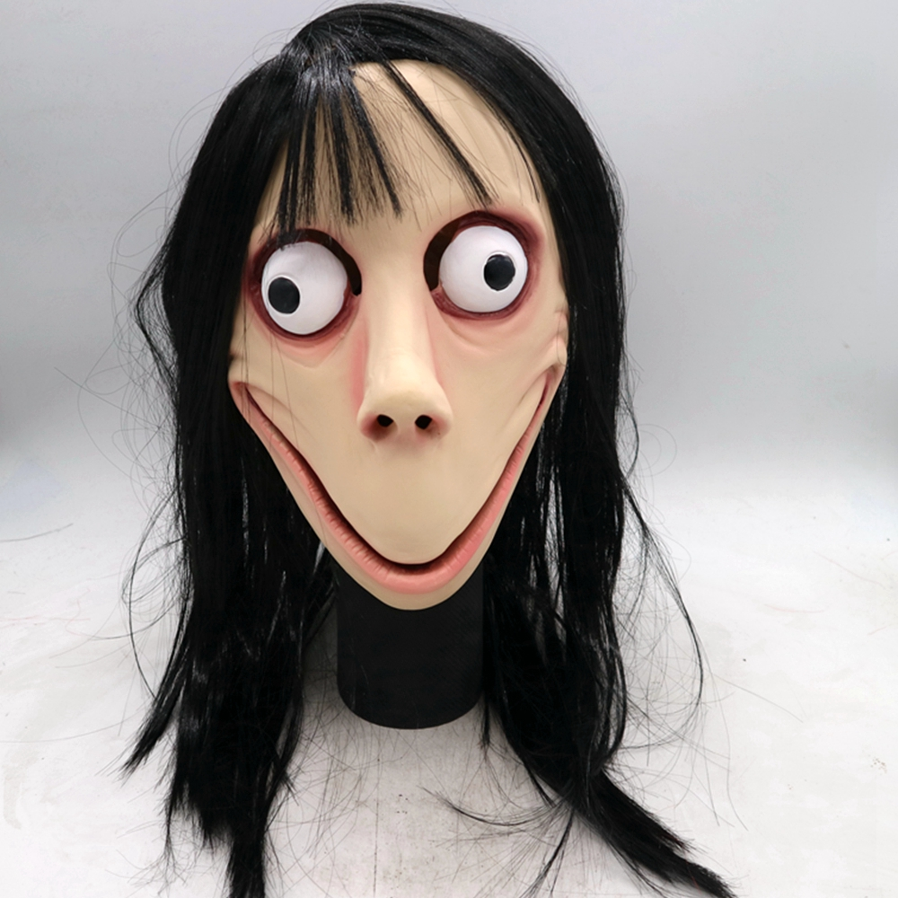 Scary Halloween Momo Mask Hacking Challenge Whale Game Momo Mask With Long Black Hair Adult Latex Momo Mask Party Costume Props