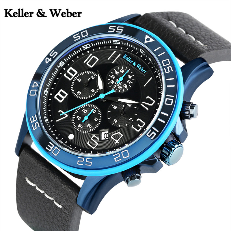 Keller&Weber Mens Sport Watches Chronograph Date 3ATM Water Resistant Quartz Army Military Genuine Leather Wristwatch Cool Clock keller