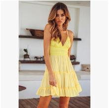 2018 Sexy Lace Women Strap Stitching  Bareback Bow Dresses Solid Color V-Neck Clothing Ladies Condole Belt High Waist Plus Size