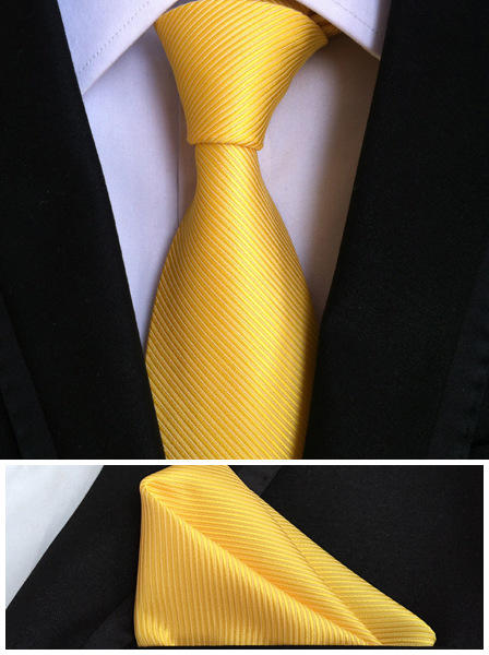 Mens Fashion Ties For Men Tie Set Pocket Square Solid Yellow Polyester Silk Tie Handkerchief Necktie Men's Clothing Accessories