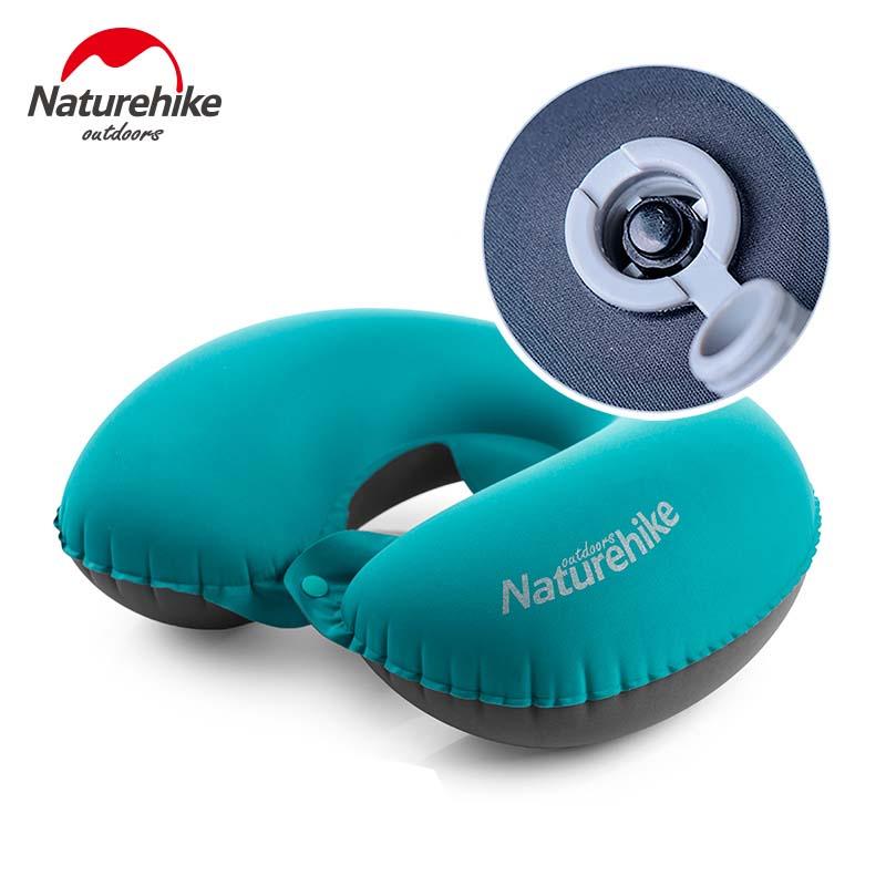U-Forma Neck Pillow Ultraleve NatureHike Inflável Confortável Dormir Acampamento Ao Ar Livre Travesseiro de Viagem Acessórios