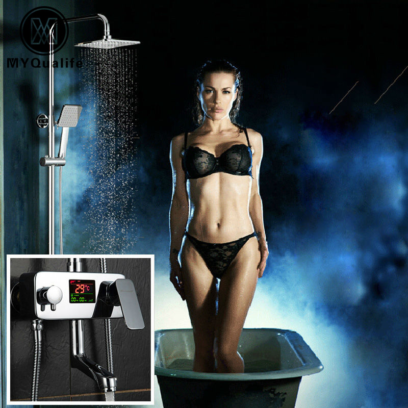 Polished Chrome Shower Set Faucet Water Powered Temperature Digital Display Shower Mixer Tap Tub Mixers Rain Shower Head classic chrome polished 8 rain shower faucet set tub mixer tap with hand shower shower faucets