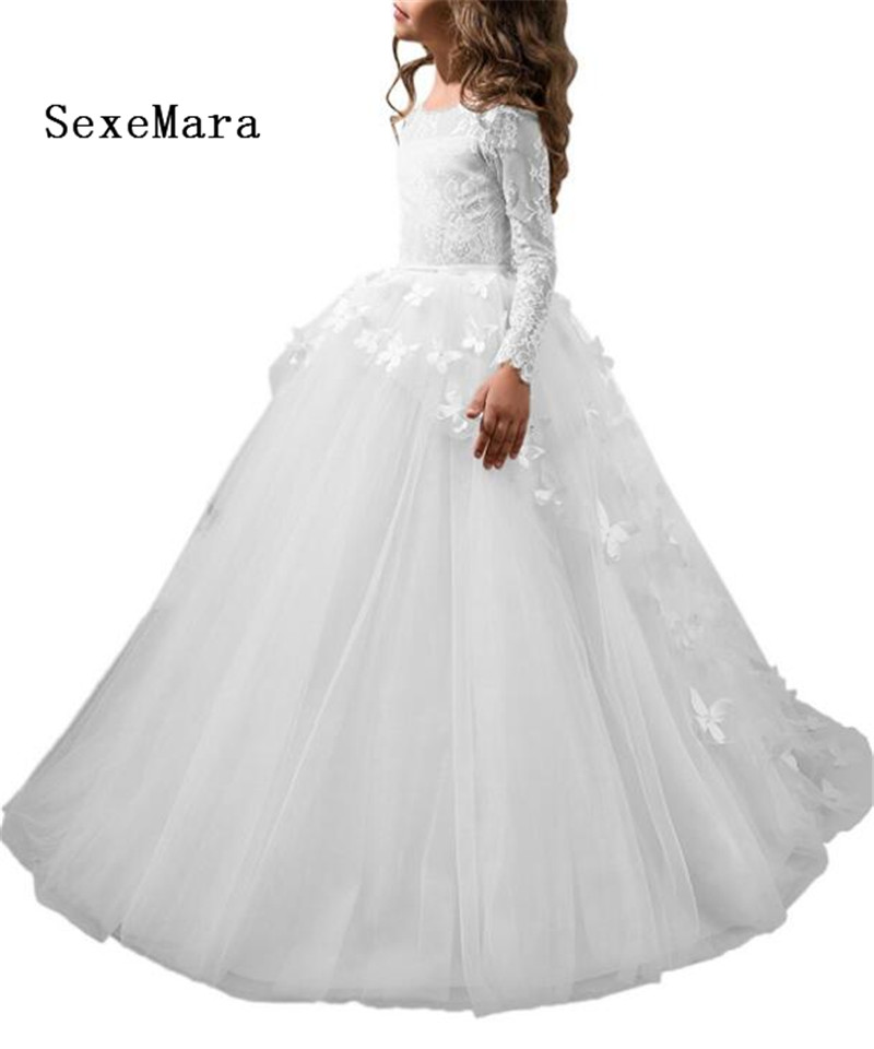 New Long Sleeves O Neck Girls Dresses For Wedding Puffy Tulle 3D Butterflies Buttons Back Girls Communion Gown White Ivory Pink