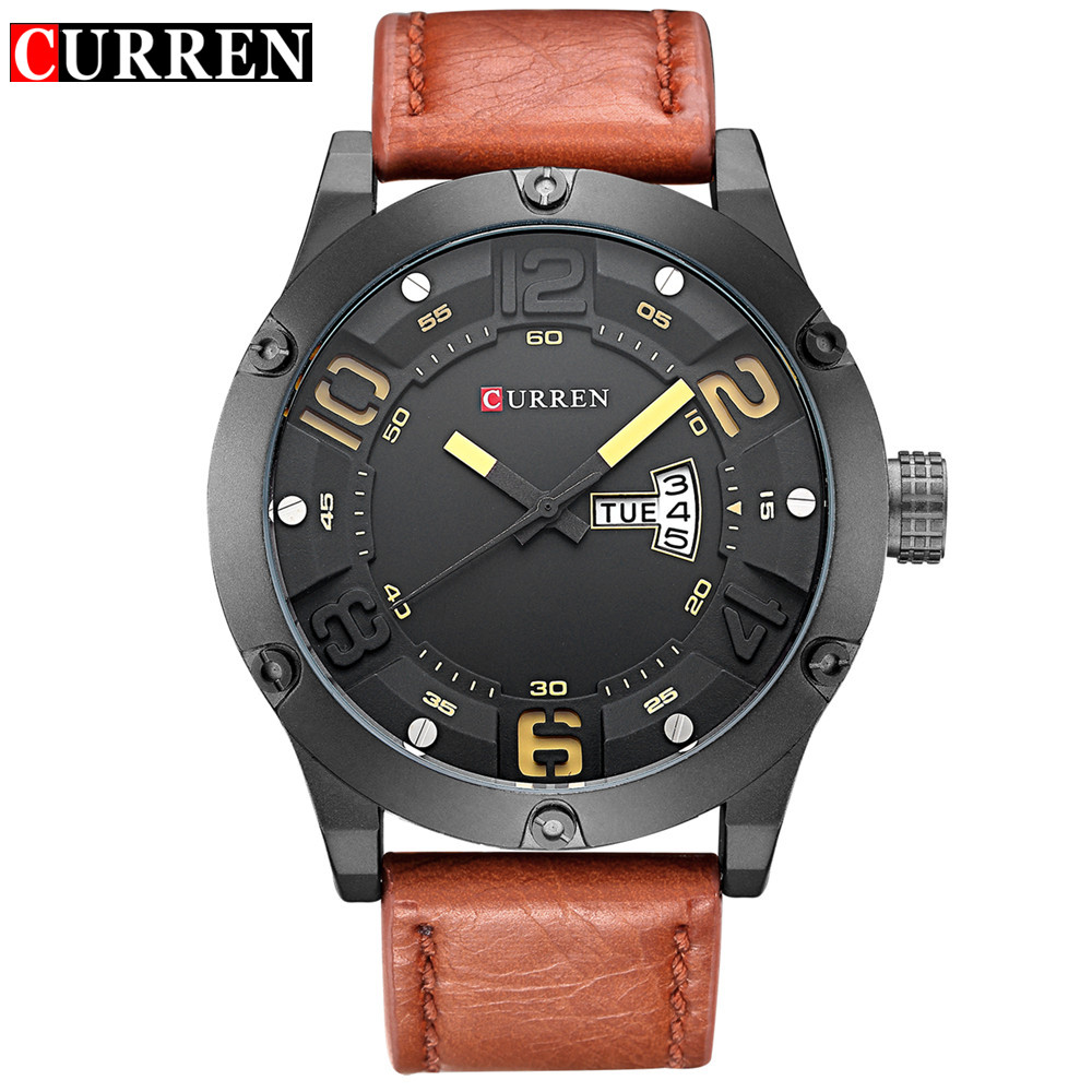 Curren Brand Men Fashion Casual Watches Men Sport Military Quartz Analog Date Clock Man men Wristwatch leather цена и фото