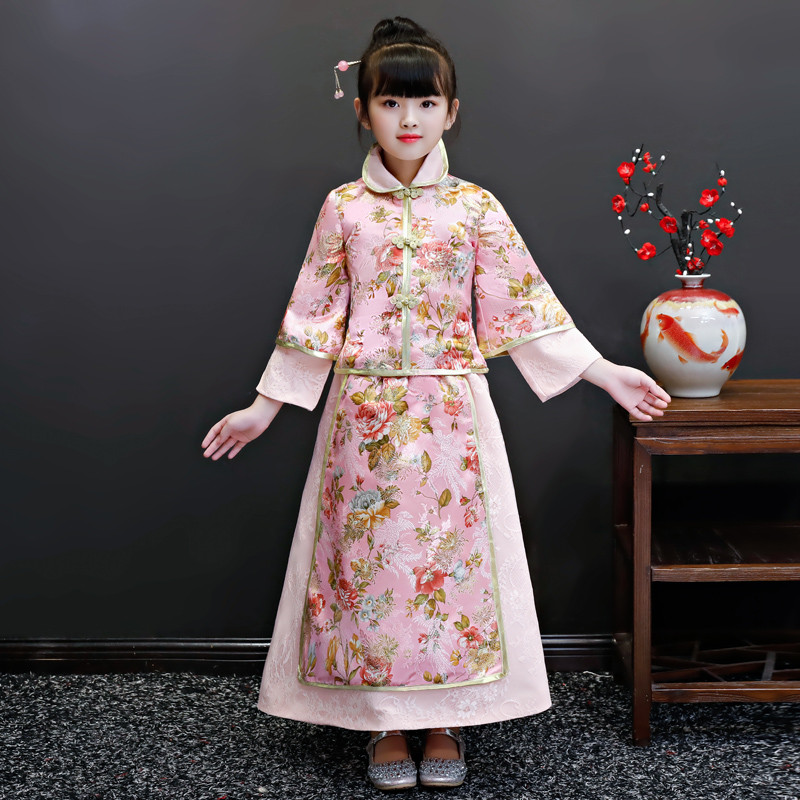 Girls Tang Suit Winter Autumn Embroidery Clothes Dress Chinese wind children's Hanfu New Year Pink Birthday Model Show Dress
