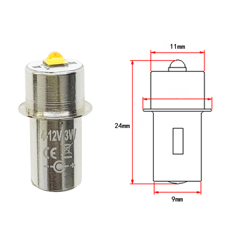 2pcs P13.5S <font><b>3v</b></font> 4-12v 6-24v <font><b>LED</b></font> Flashlight Maglite Light Bulbs <font><b>LED</b></font> Emergency Work Light Lamp Flashlight Replacement Torches Bulb image