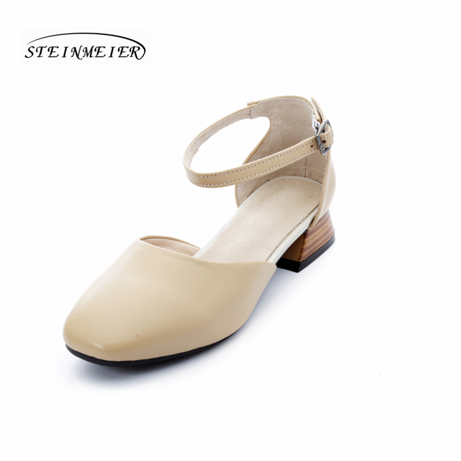 Women genuine Leather flat Sandals shoes buckle handmade beige white oxford slippers vintage Square Toe British style shoes handmade genuine leather women s shoes vintage national trend cutout shoes flat shoes comfortable women s sandals free shipping page 1