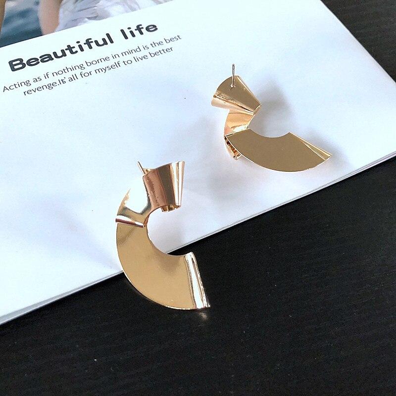 KEQIU Stud-Earrings Geometric Wholesale Metal Twisted Wind-Features Personality