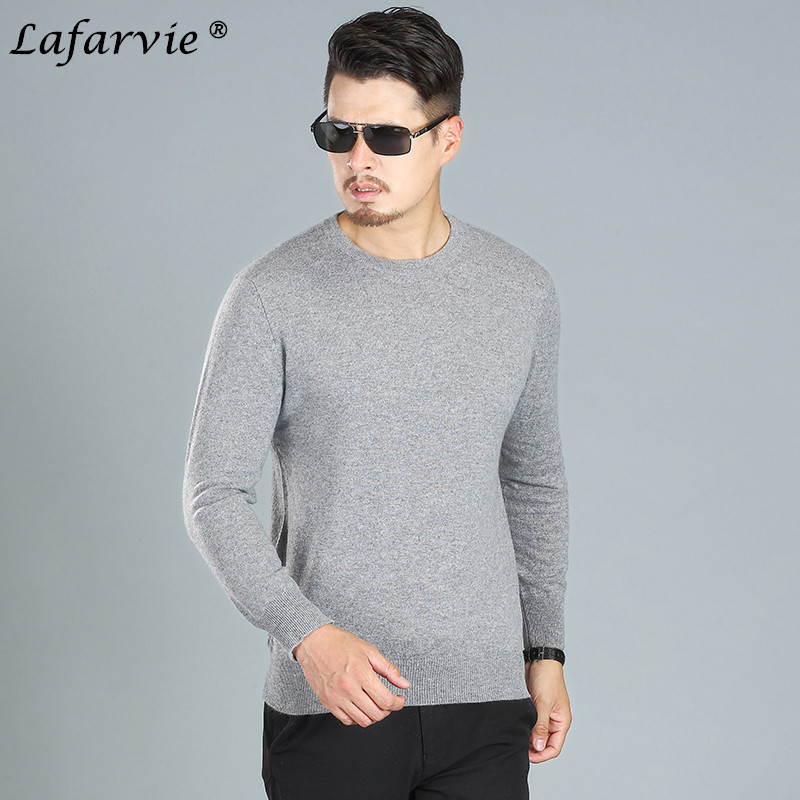 Lafarvie Cashmere Blended Knitted Sweater Mäns Toppar Pullover 2019 Casual Höst Vinter Långärmad O-Neck Knitwear Solid Color