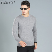 Lafarvie Cashmere Blended Knitted Sweater Men Tops Pullover 2019 Casual Autumn Winter Long Sleeve O-Neck Knitwear Solid Color