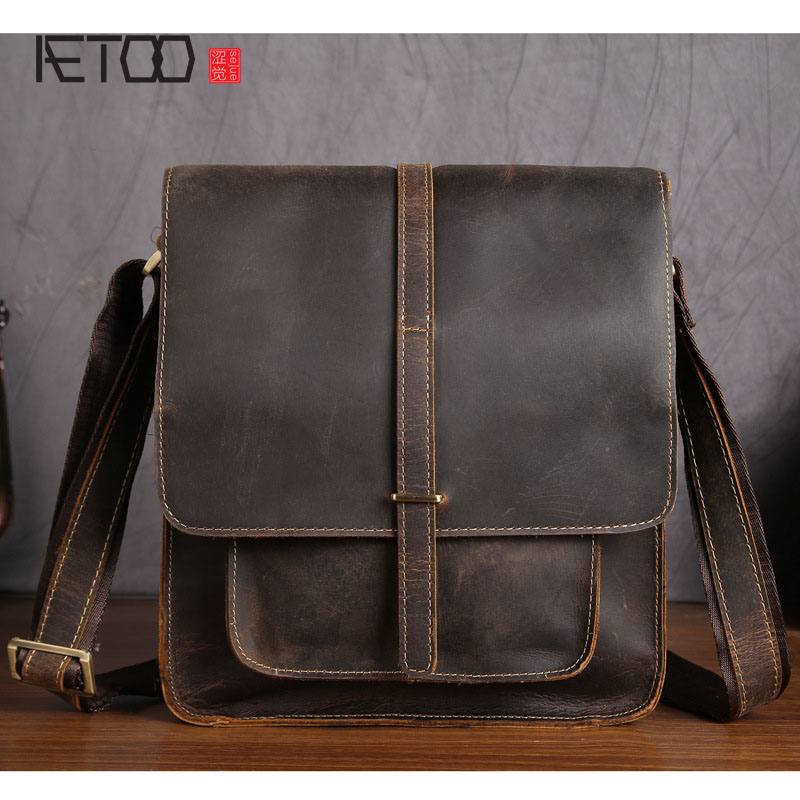 AETOO Men's first layer of cowhide frenzy Pippi long layer of leather shoulder bag oblique across the package mad horse skin pippi longstocking