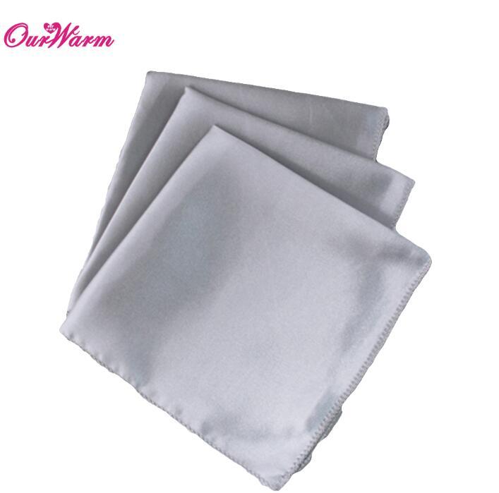 "100Pcs Wedding Table Napkins 12"" Square Pocket Handkerchief Satin Table Dinner Napkins for Wedding Decoration Accessories - Цвет: SIL"
