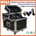 1 Pcs/lot flight case packing 600w dual fog machine dmx smoke machine remote Triple Blowing Fan LCD Screen Display haze machine
