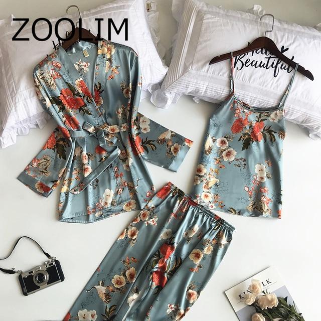 5f0a599f83 ZOOLIM 2018 New 3 PCS Women Pajamas Sets with Pants Sexy Pyjama Satin  Flower Print Nightwear