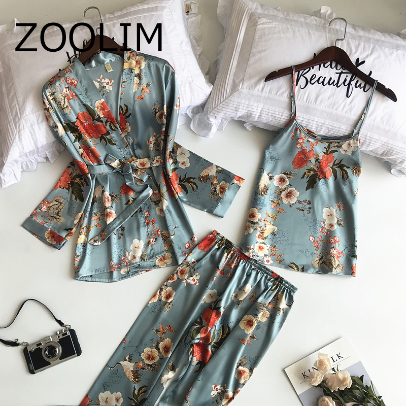 ZOOLIM 2018 New 3 PCS Women   Pajamas     Sets   with Pants Sexy Pyjama Satin Flower Print Nightwear Silk Negligee Sleepwear Pyjama