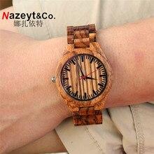 HOTIME Todo Madera de la Cebra de Los Hombres Reloj de Cuarzo Analógico Movimiento de Japón 2035 Casual Banda de Madera Relojes de Madera con rojo manos