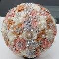 Free Shipping Crystal Wedding Bouquets Stitch Bridal Bouquets Elegant Pearl Bride Bridesmaid Artificial Rose Crystal Sparkle