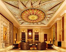 luxurious Ceiling Murals Wallpaper Jewelry diamonds Mandala 3D Wallpaper Living room Ceiling 3D Wall paper(China)
