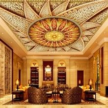 luxurious Ceiling Murals Wallpaper Jewelry diamonds Mandala 3D Wallpaper Living room Ceiling 3D