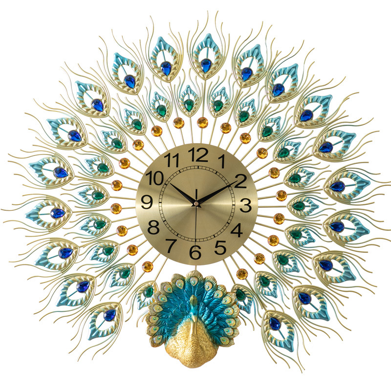 European Minimalist Creative Large Peacock Wall Clock Modern Home Living Room Mute Clock Fashion Decorative Quartz Clock