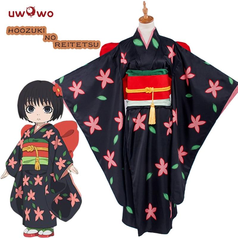 UWOWO Zashiki Warashi Hoozuki no Reitetsu Cosplay Satin Sisters Black Kimono Uwowo Costume Women